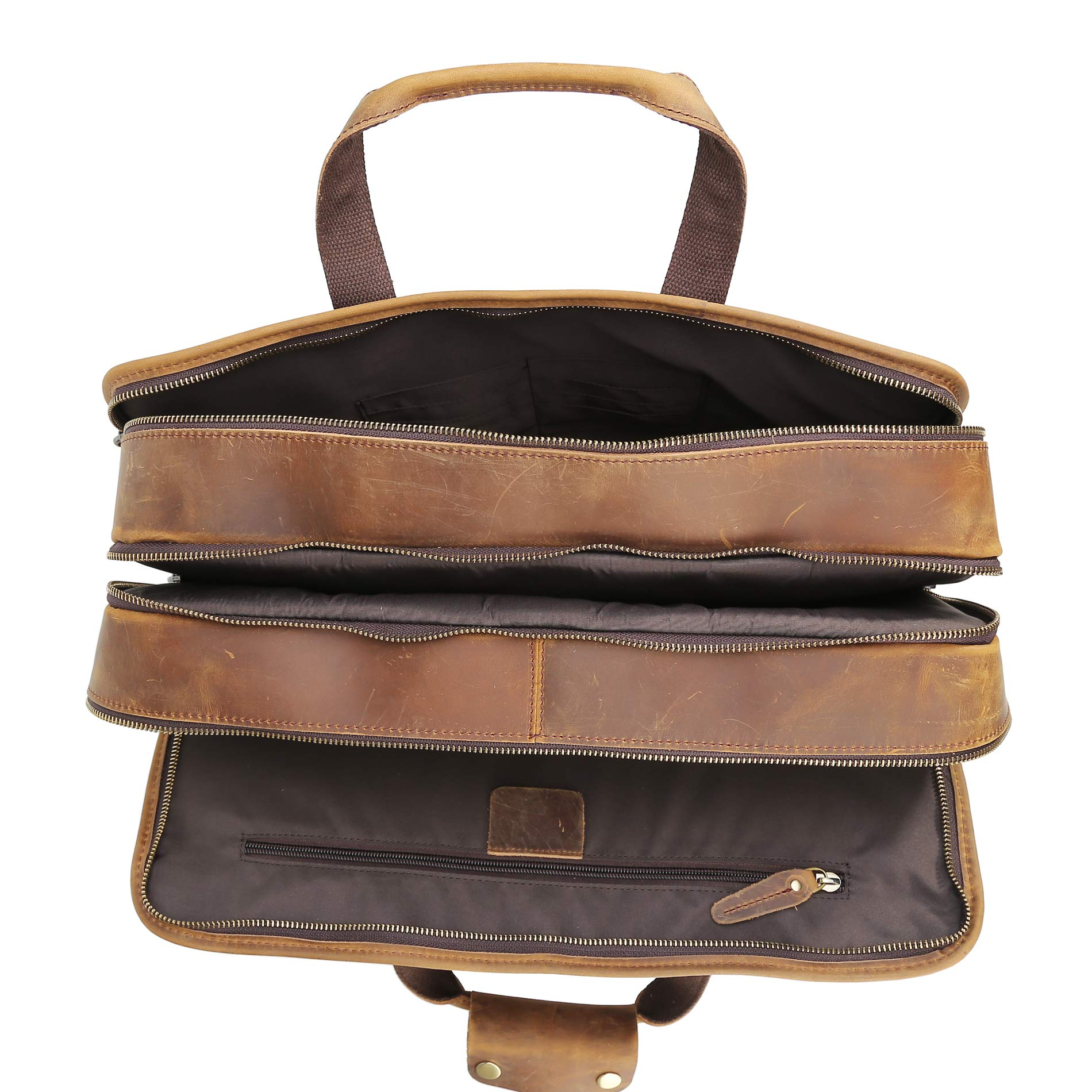 Polare Men's 17'' Full Grain Leather Messenger Bag for Laptop Briefcase Tote by Polare (Image #9)