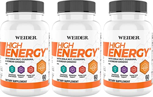 Weider High Energy 60 Tablets, Bottle Pack of 3
