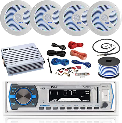 White 12v Single DIN Style Boat in Dash Radio Receiver System Smoke Colored Heavy Duty Boat Radio Protector Pyle Bluetooth Marine Receiver Stereo /& Water Resistant Marine Stereo Cover