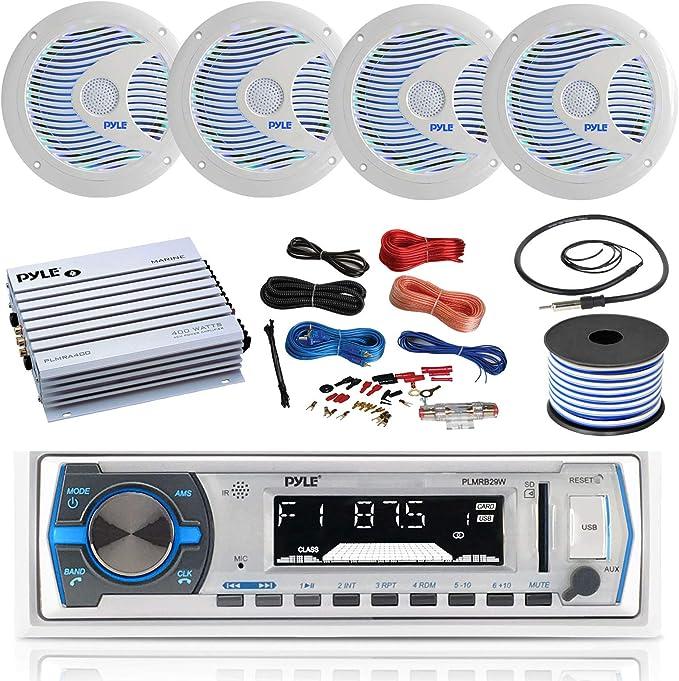 Water Resistant Pyle PLMCA51BT Bluetooth Weatherproof Speaker /& Amplifier System Mobile Mountable Audio Streaming-Set of 2