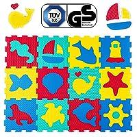 Hakuna Matte puzzelmat voor baby's – met TÜV GS certificaat – 12 tegels met dieren in een opbergtas – 20% dikkere…