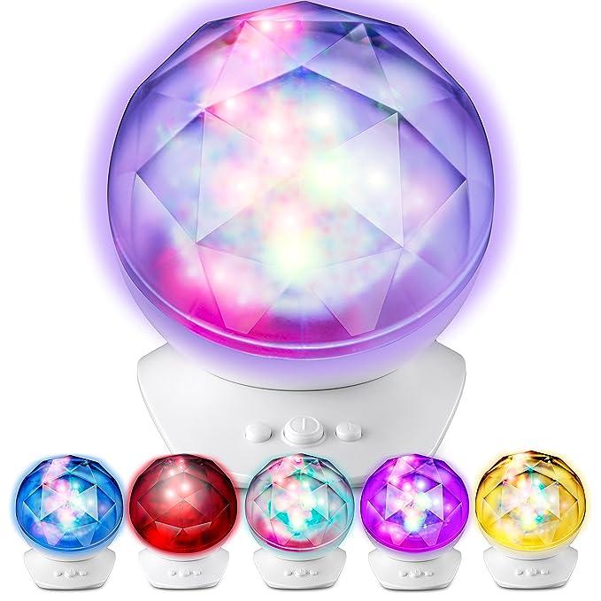 lugumy Aurora luz nocturna LED proyector con altavoz integrado ...