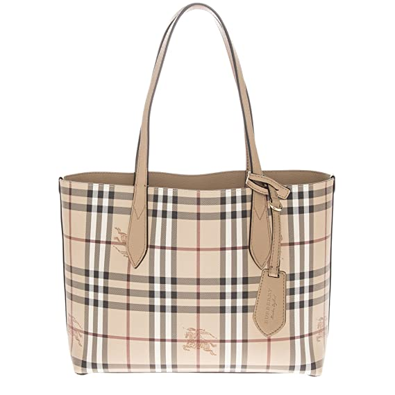9356be2578c7 Burberry Small Reversible Tote in Haymarket Check - Camel  Amazon.ca   Watches