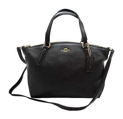 66b0666d7 Coach Pebble Leather Mini Kelsey Satchel Crossbody Handbag F28994  Black/Imitation Gold: Handbags: Amazon.com