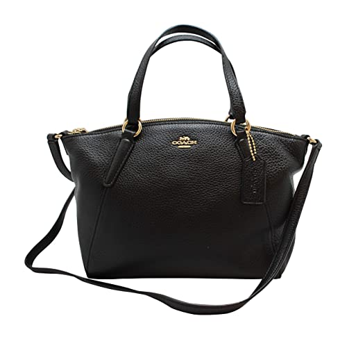 d2980f442299 COACH Pebble Leather Mini Kelsey Satchel Crossbody Handbag F28994 BLACK IMITATION  GOLD  Amazon.in  Shoes   Handbags