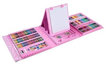 adolescentes principiantes Kids Art Supplies 208 piezas de pintura y dibujo caja de arte port/átil marcadores pasteles al /óleo ceras l/ápices de colores gran regalo para ni/ños 3 12 azul azul