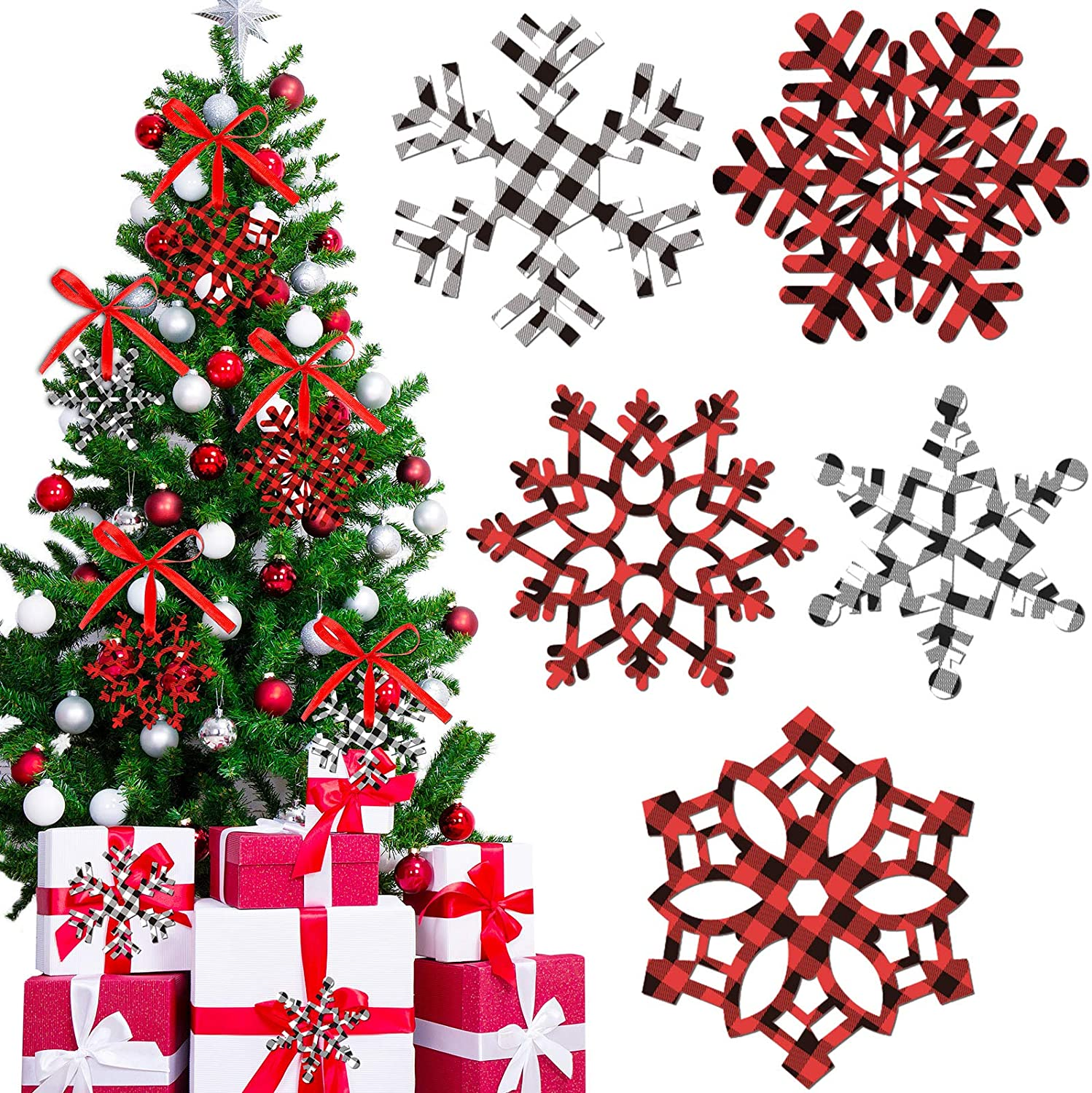60 Pieces Christmas Snowflakes Cutouts Ornaments Red White Black Buffalo Plaid Christmas Snowflake Paper Cutouts with Ribbon for Christmas Party Decor Accessories, 5 Styles