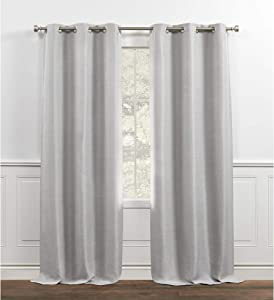 Chaps Melody Room Darkening Solid Textured Grommet Top Curtain Panels, 38x84, Light Grey