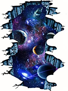 3D Cosmic Galaxy Wall Decal for Kids Room Decor, Outer Space Galaxy Planet Magic Wall Sticker for Bedroom Living Room Decor, Outer Space Wall Mural for Kids Living Room (A1)