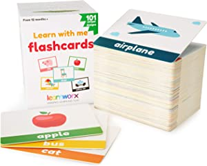 learnworx Flash Cards for Toddlers - 101 Cards - 202 Sides - Learn Objects, Numbers & Play Games - Great Value, Fun Learning and Educational Flashcards