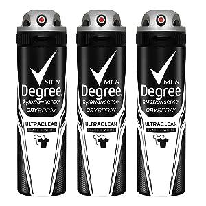 Degree Men MotionSense Antiperspirant Deodorant Dry Spray, UltraClear Black+White, 3.8 Ounce (Pack of 3)
