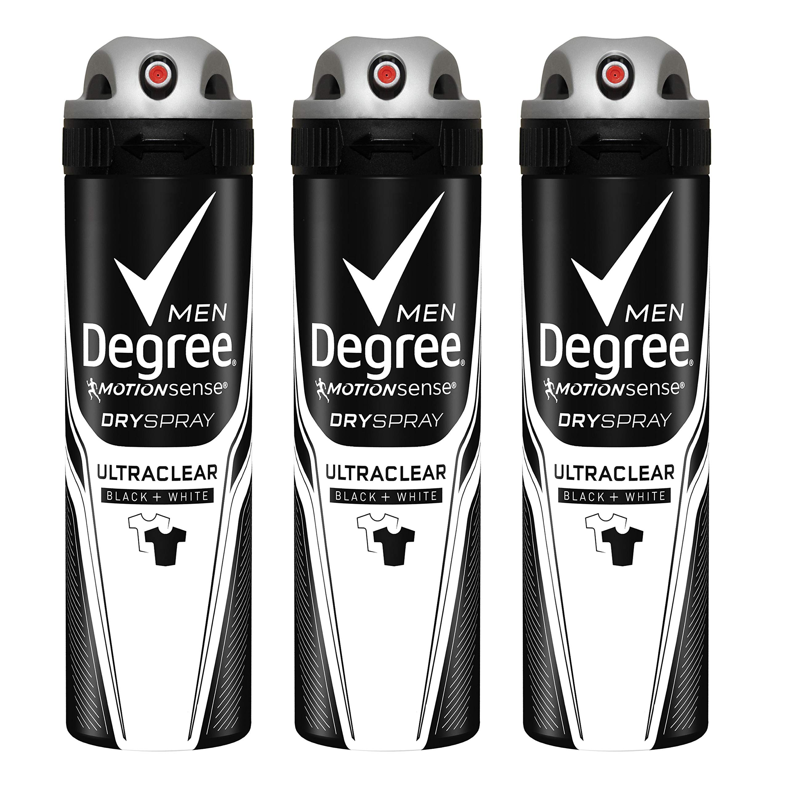 Degree Men MotionSense Antiperspirant Deodorant Dry Spray, UltraClear Black+White, 3.8 oz, 3 count