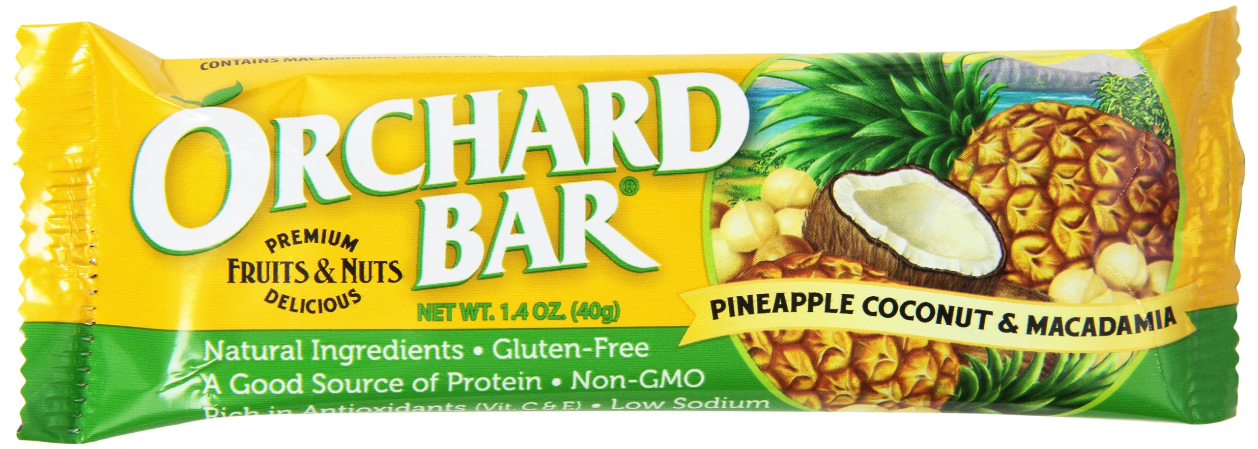 Orchard Bars Macadamia Fruit and Nut Bar, Pineapple Coconut, 1.4 Ounce (Pack of 12)