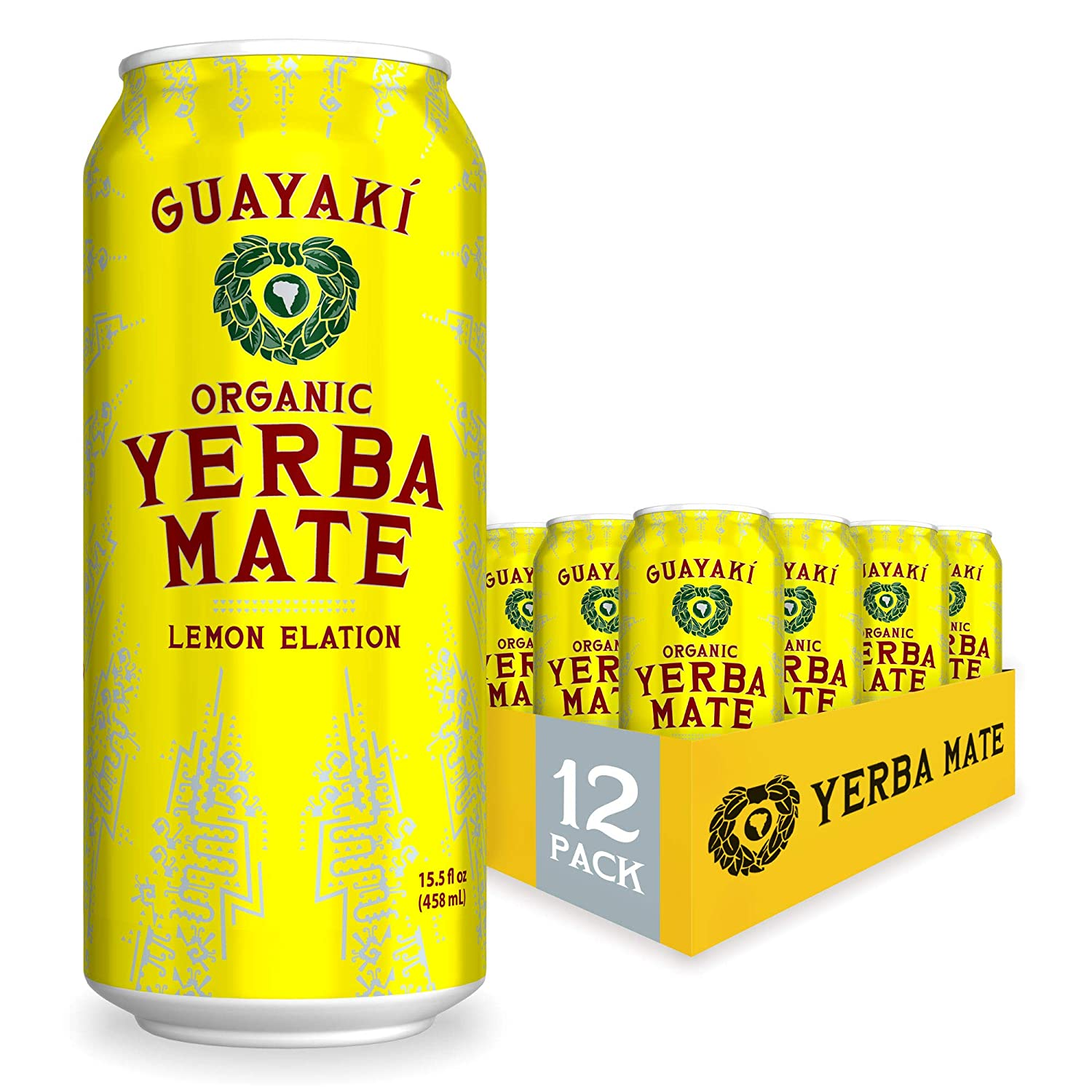 Guayaki Yerba Mate | Organic Alternative to Herbal Tea, Coffee and Energy Drink | Lemon Elation | 150 mg of Caffeine | 15.5 Oz | Pack of 12