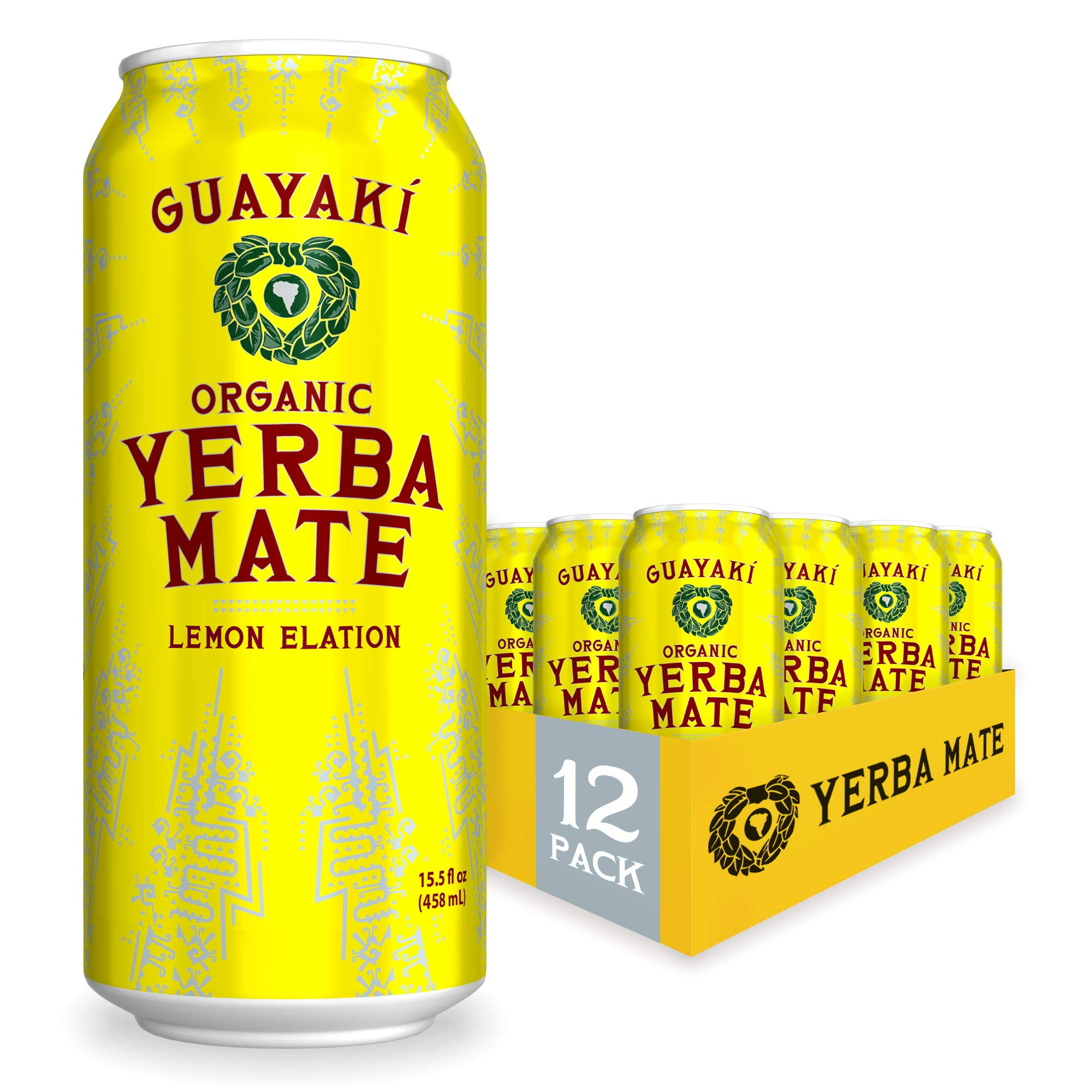 Guayaki Yerba Mate, Lemon Elation, Organic Alternative to Energy, Coffee and Tea Drinks, 15.5 Ounce Cans, (Pack of 12), 150mg Caffeine