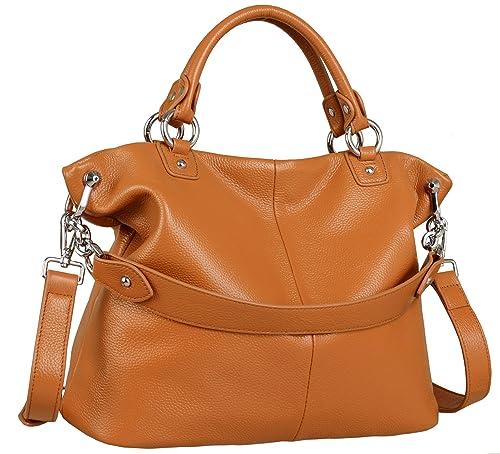 e632f90bafa Heshe Womens Leather Shoulder Handbags Tote Double Handle Bag Ladies Purses  Designer Satchel Bags Crossbody Bag
