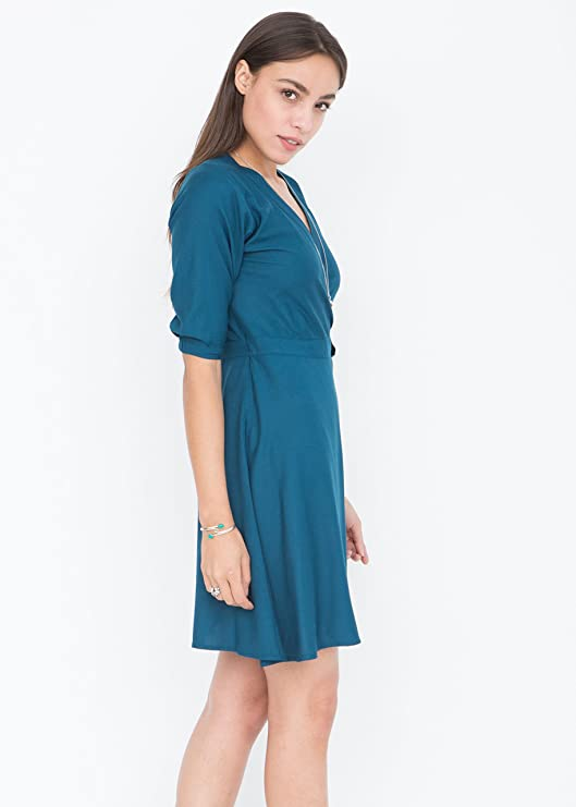 likemary V-Neck Wrap Dress with 3/4 Sleeves at Amazon Womens Clothing store: