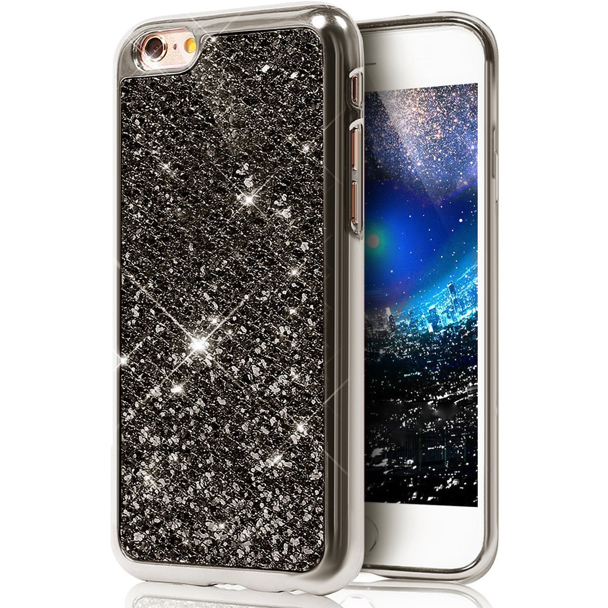 iPhone 6S Plus Custodia, iPhone 6 Plus Cover, iPhone 6 Plus 5.5 Custodia Silicone, JAWSEU Moda Stile Lusso Cristallo di Bling Brillante Sparkle Glitter Custodia per iPhone 6 Plus 6S Plus Back Cover Case Gomma Ultra Sottile Flessibile Morbida Silicone TPU C