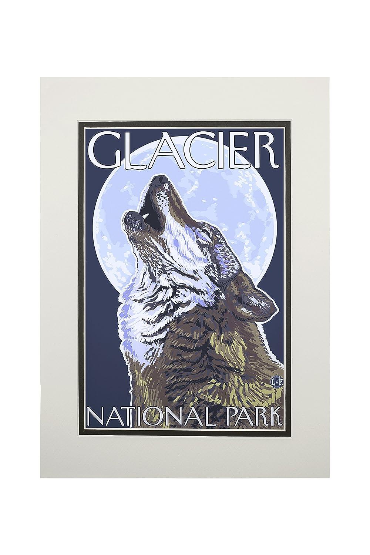 グレイシャー国立公園、MT – Howling Wolf 11 x 14 Matted Art Print LANT-20945-11x14M B06XZFJXFM 11 x 14 Matted Art Print