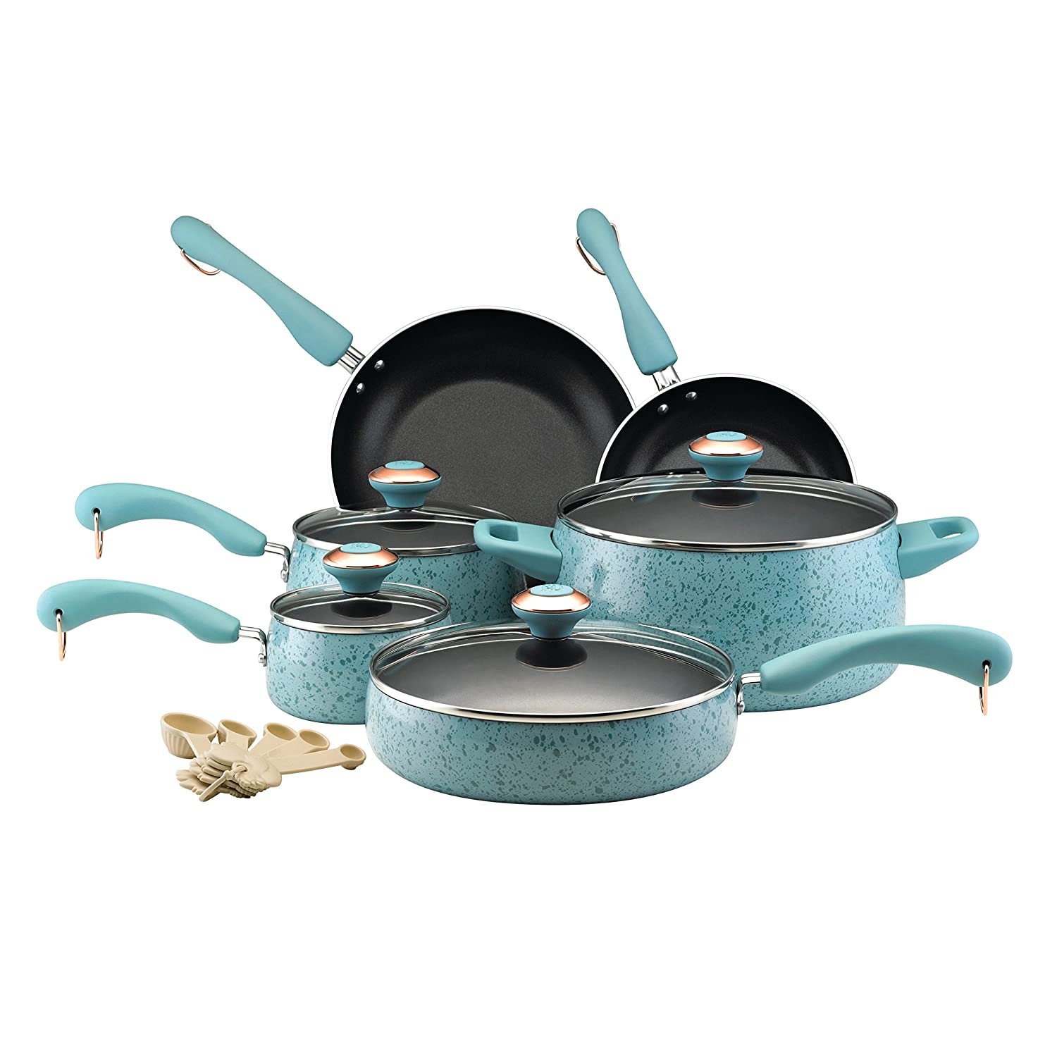 Paula Deen Signature Collection Porcelain Nonstick 15 Piece Pots and Pans Cookware Set