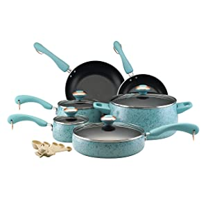 Paula Deen Signature Collection Porcelain Nonstick 15-Piece Cookware Set, Aqua Speckle