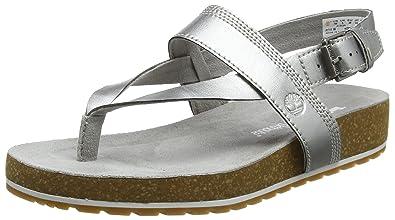 Timberland Damen Malibu Waves Ankle Strap Zehentrenner, Grau (Silver 040), 38 EU
