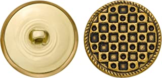 product image for C&C Metal Products 5147 Fancy Checker Metal Button, Size 45 Ligne, Antique Gold, 36-Pack
