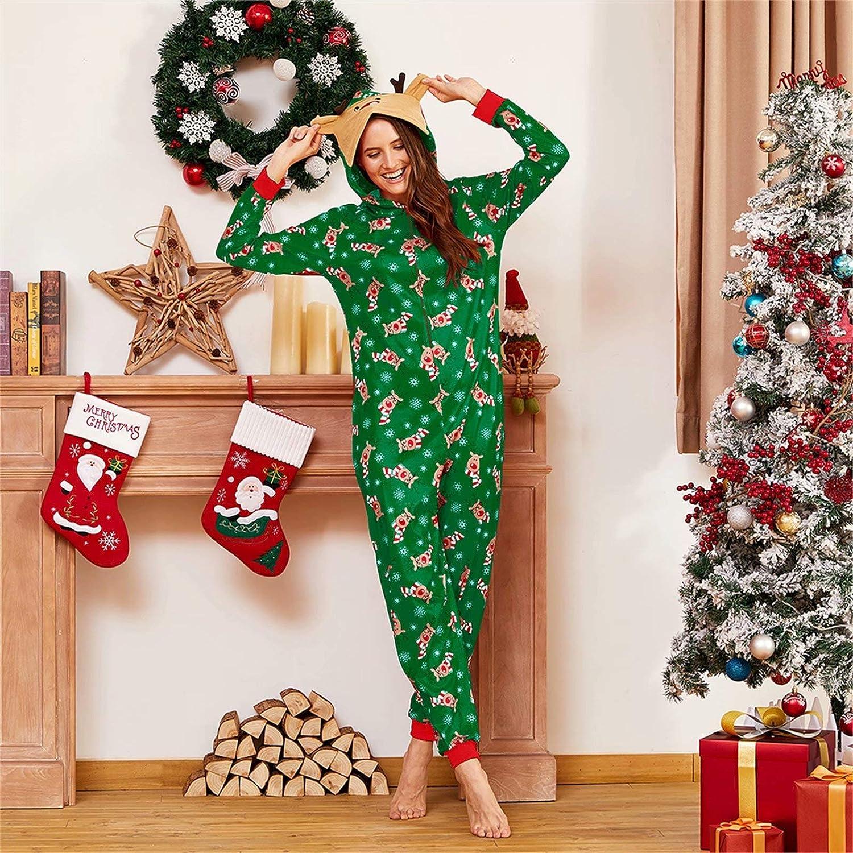 Yaffi Family Matching Pijamas Christmas Festival Onesie One Piece Xmas Deer Hooded Jumpsuit Ropa de Dormir Loungewear para pap/á mam/á y yo Pjs Lounge Wear