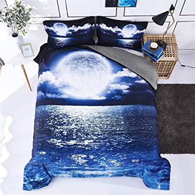 HIG 3D Bedding Set 3 Piece Queen Size Moon on Sea Print Duvet Cover with Two Matching Pillow Covers -Super Soft Duvet Cover -General for Men and Women Especially for Children (P21,Queen): Home & Kitchen