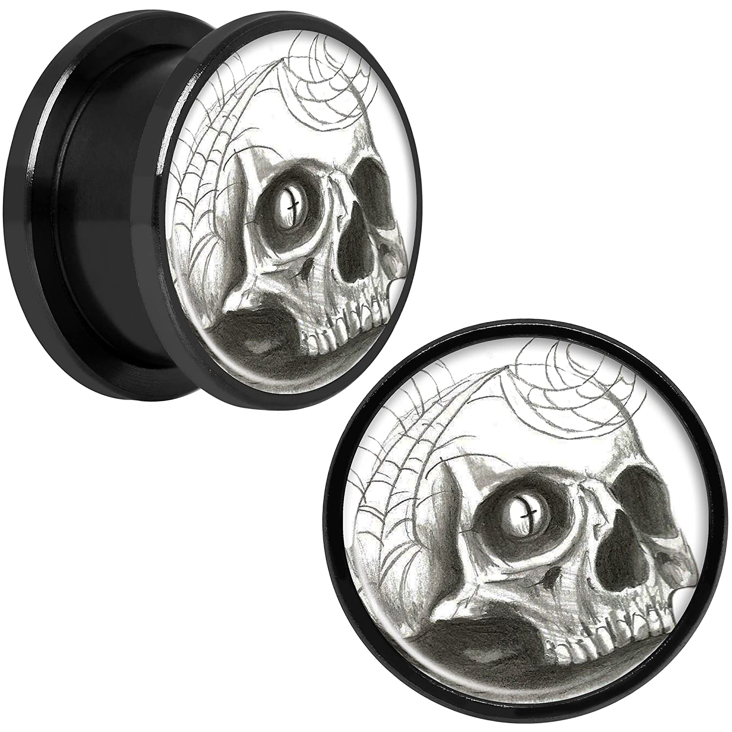 Body Candy Black Anodized Stainless Steel Webbed Skull Screw Fit Double Flare Plug Pair 5/8 CUPS-BK-741-16