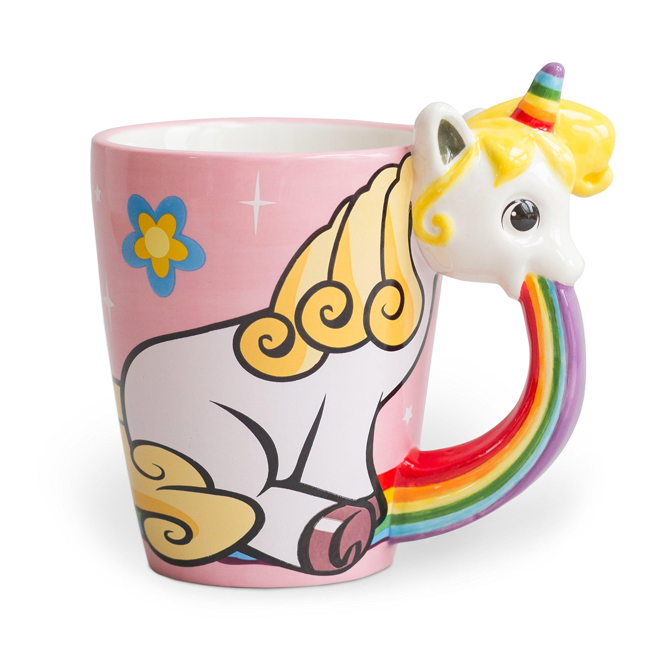 el & groove Einhorn-Tasse groß bunt in 3D, Kaffee-Tasse 350ml (400ml randvoll), Tee-Tasse Einhorn aus Keramik in Rosa, Unicorn Becher, Geschenkidee, Geschenk für Frauen, Geschenk Weihnacht Bild