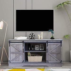 GHQME Sliding Barn Door TV Stand,58 Inch Storage Table,Wood Universal Stand,Living Room Storage Shelves Entertainment Center (Gray MI)