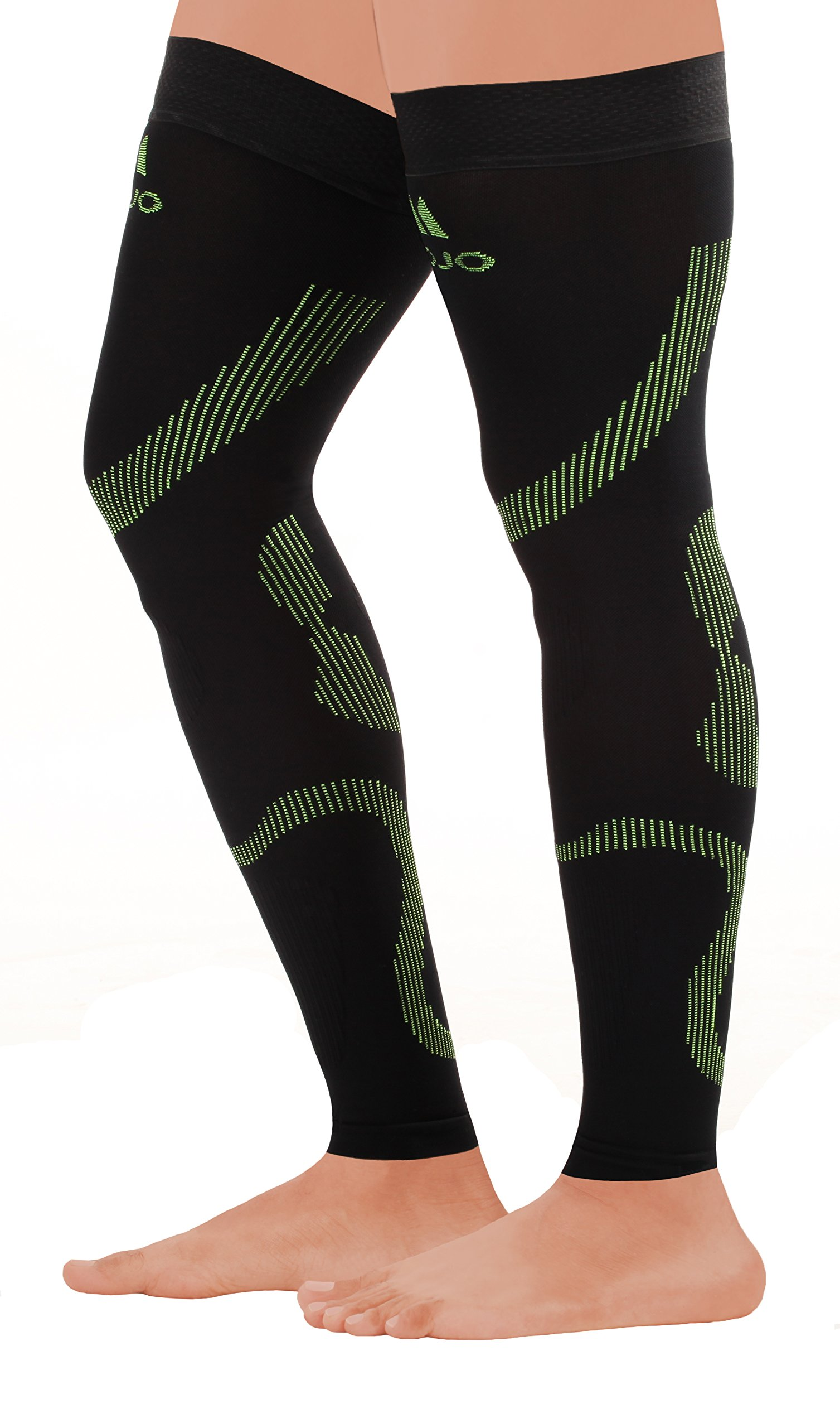 MoJo Sports Full Leg Support & Recovery Compression Thigh Sleeve - Treat Hamstring and Quad Injuries - Hamstring Compression Sleeve - Running Compression Thigh Sleeve (2XL, Black Green)