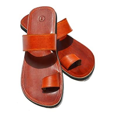 f8c1057efc686 Handcrafted Luxury Men Biblical Leather Sandals Jesus Sandals Brown Flip  Flops Finger Style Hippie Indian Sandals