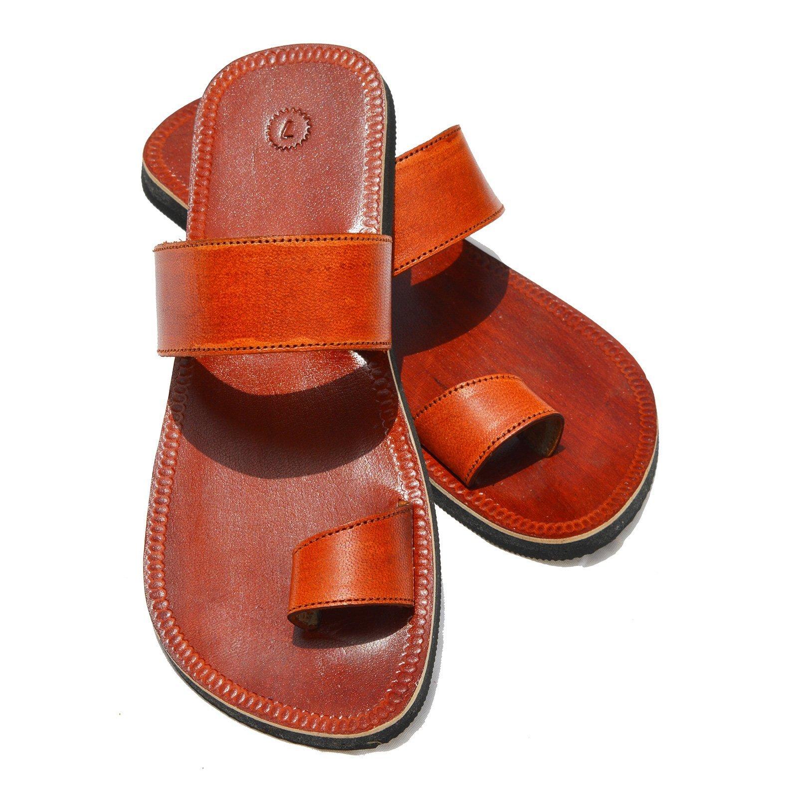 Handcrafted Luxury Men Biblical Leather Sandals Jesus Sandals Brown Leather Flip Flops Finger Style Hippie Indian Sandals (US 8)