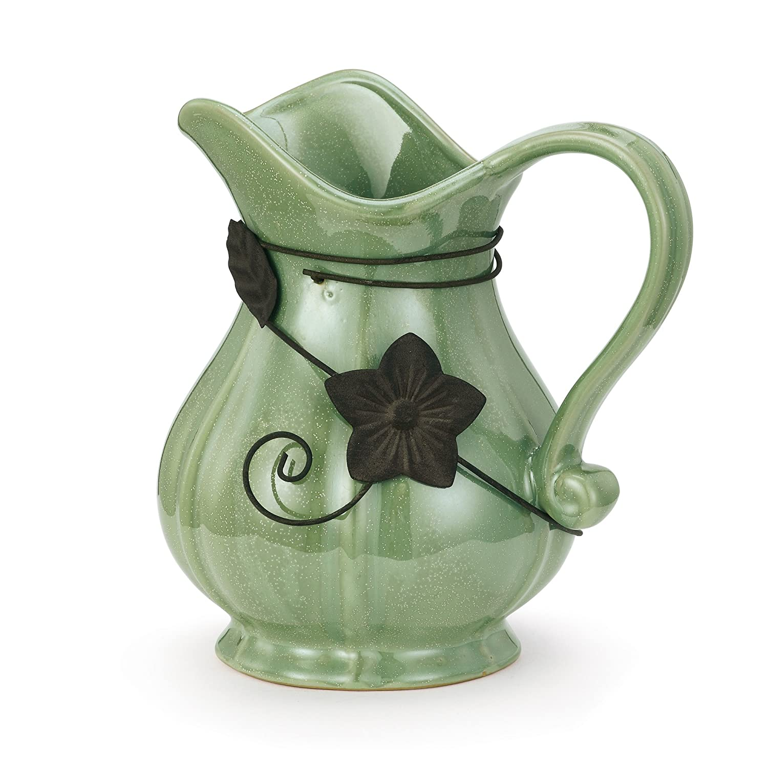Napco Traditional Metal Flower Accent Sage Green 2.5 x 6.5 Ceramic Decorative Pitcher Napo