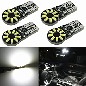 """Alla Lighting 4pcs T10 Wedge 194 168 2825 W5W CANBU Error Free Super Bright White High Power 3014 18-SMD LED Bulb for Replacing 2011~17"""" Chevrolet Cruze Interior Map Dome License Plate Tag Light Lamps"""
