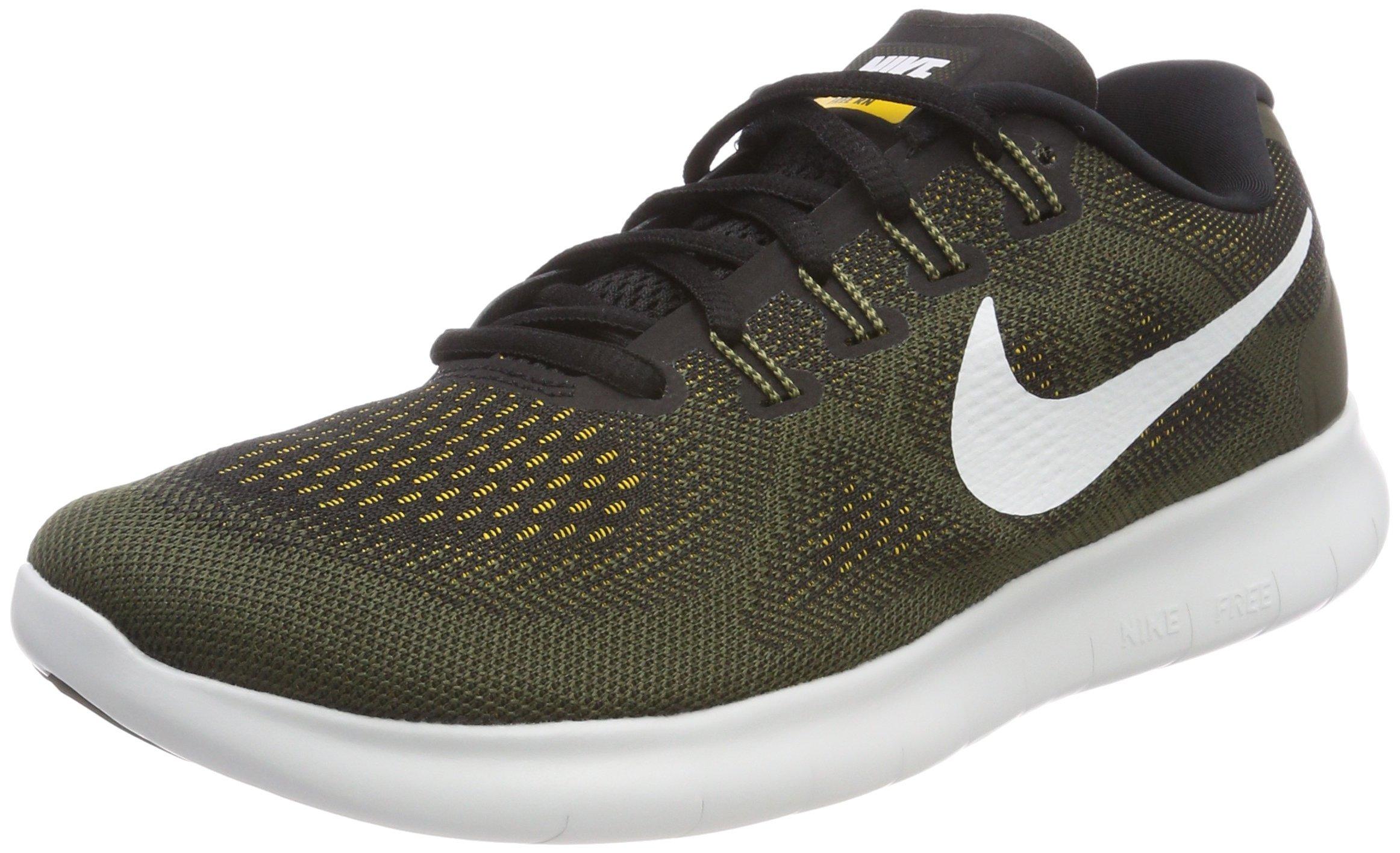 Nike Womens Free Run Distance Low Top, Black/Off-White/Cargo Khaki, Size 11.0 by Nike