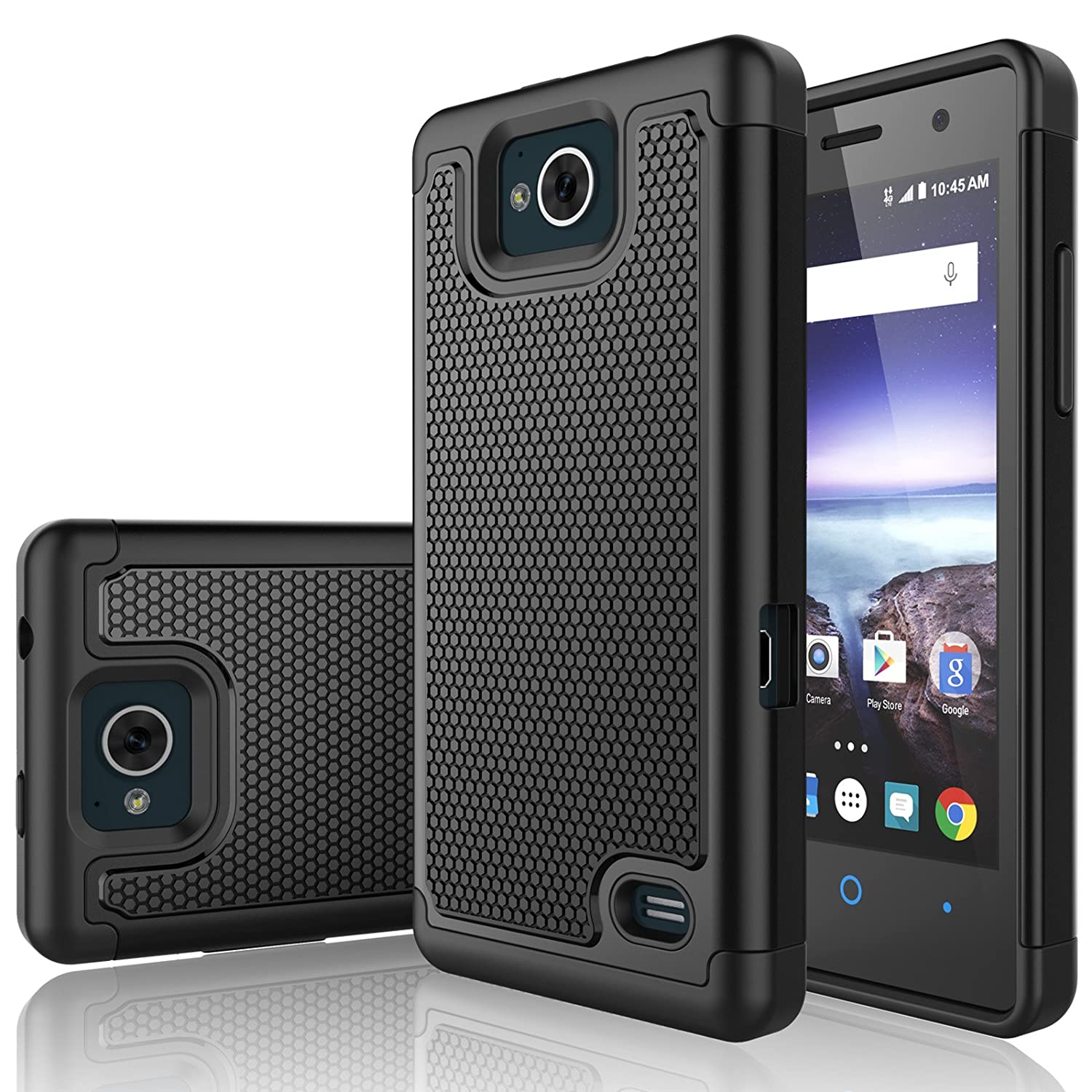 ZTE Majesty Pro Case, ZTE Majesty Pro Plus Sturdy Case, Tekcoo [Tmajor]  Shock Absorbing [Black] Hybrid Rubber Plastic Scratch Resistant Defender