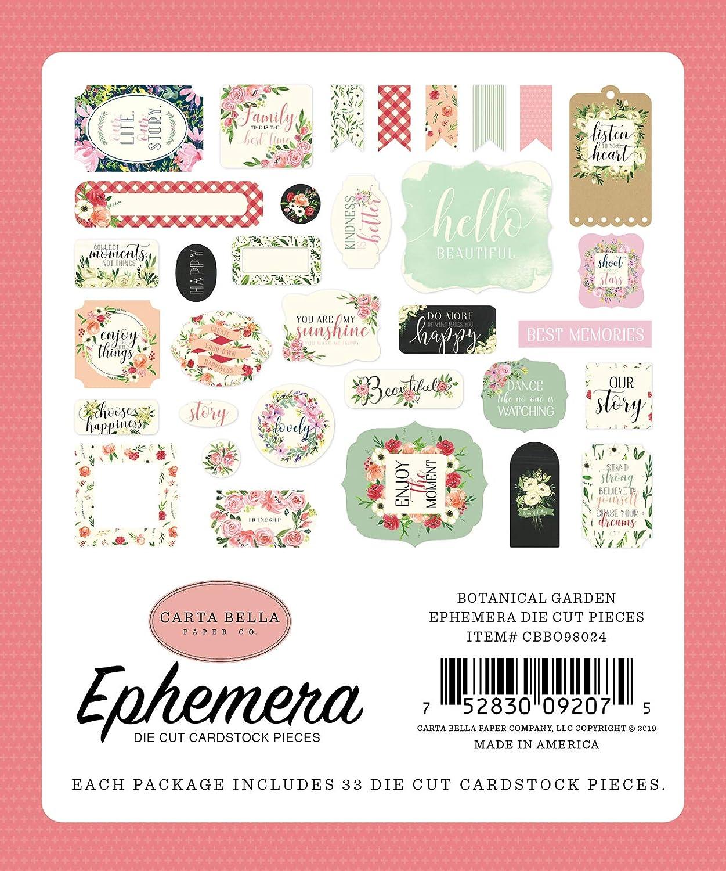Pink red Green Carta Bella Paper Company CBBO98024 Botanical Garden Ephemera Cream Black