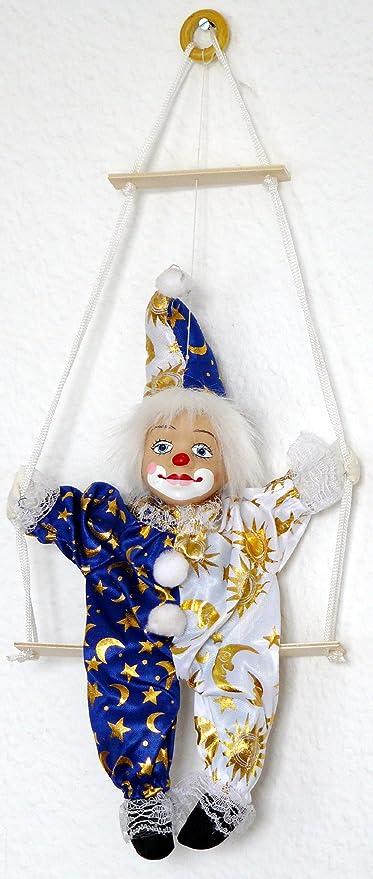 Harlekin-puppe auf Schaukel in blau ca 25cm