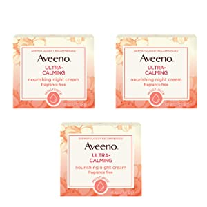 Aveeno Ultra-Calming Nourishing Night Cream for Sensitive Skin with Calming Feverfew & Nourishing Oat, Non-Comedogenic, Oil-Free & Hypoallergenic, 1.7 oz (Pack of 3)