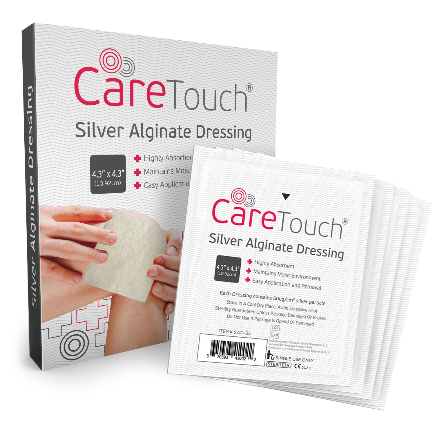 Silver Alginate Antibacterial Wound Dressing by Care Touch - 5 Individually Wrapped Sterile Gauzes 4.3'' x4.3