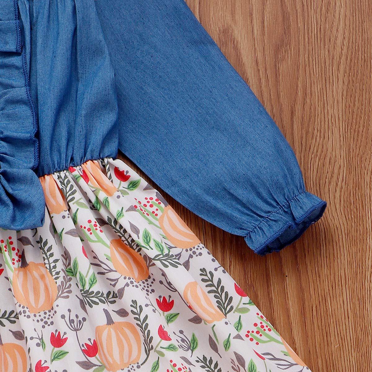 Infant Toddler Baby Girls Halloween Dress Ruffled Button Pumpkin Printed Long Sleeve Denim Skirt