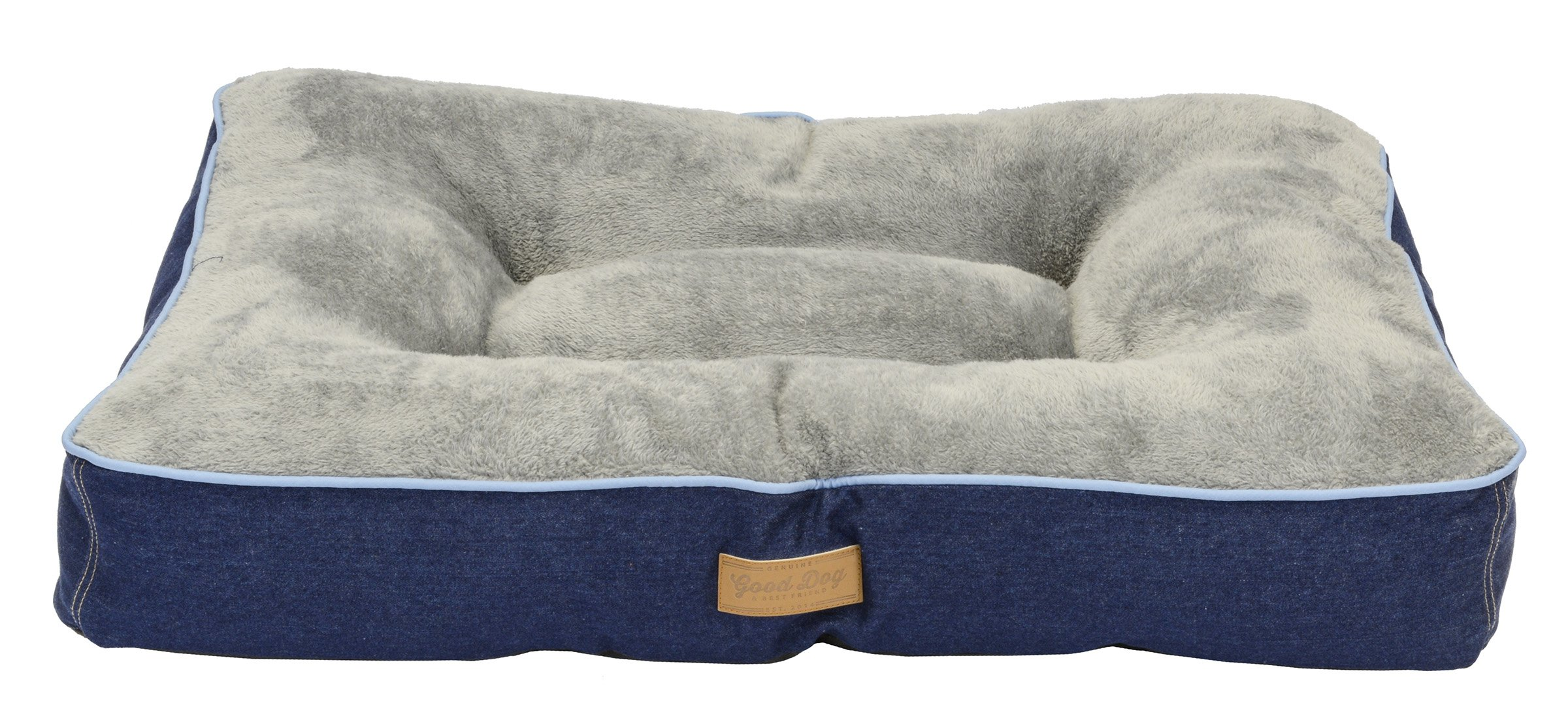 Dallas Manufacturing Co. 36'' x 26'' large Gusset Dog Bed, Denim with Blue Piping