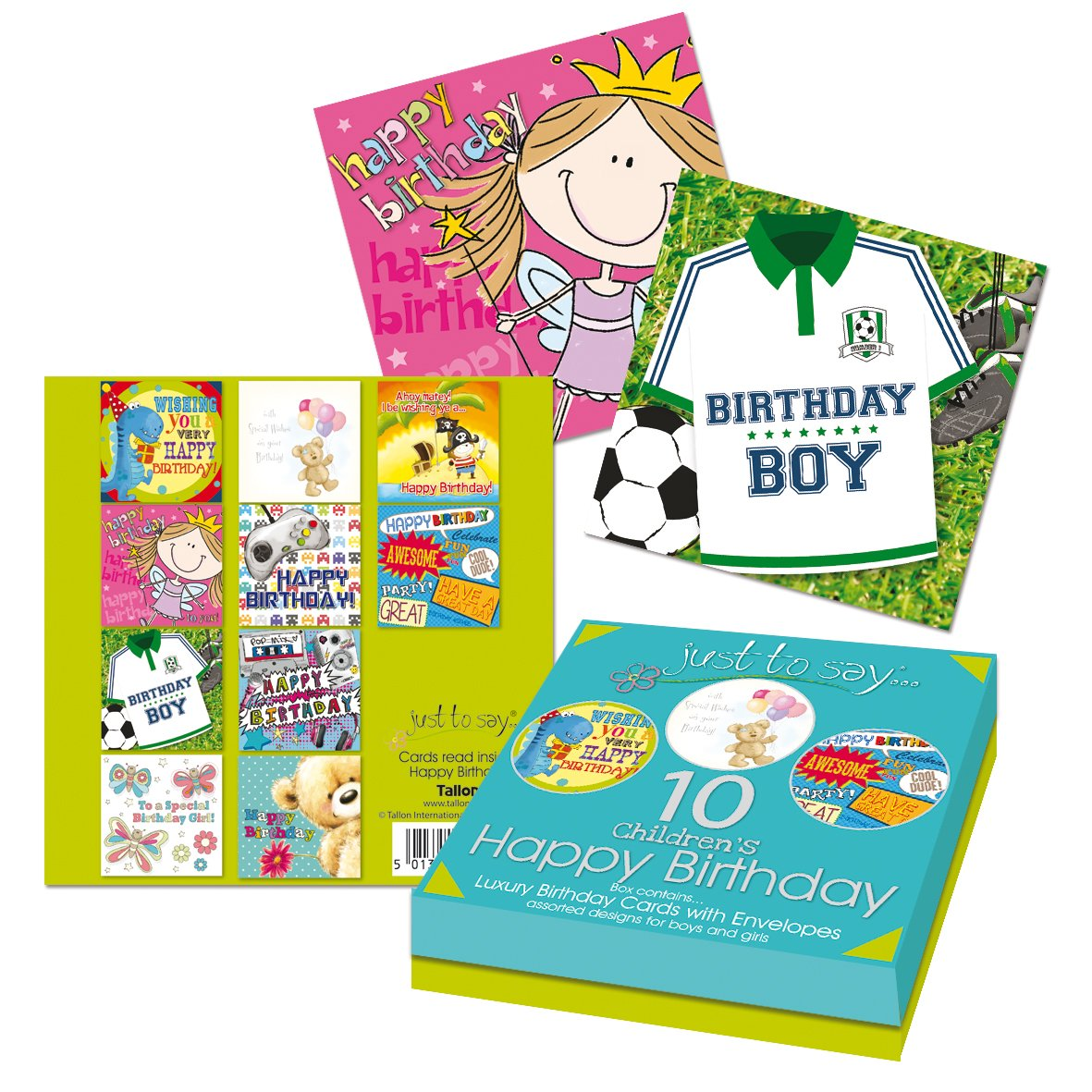 Tallon Just To Say Kids Birthday Card Box Of 8 Amazon Co Uk