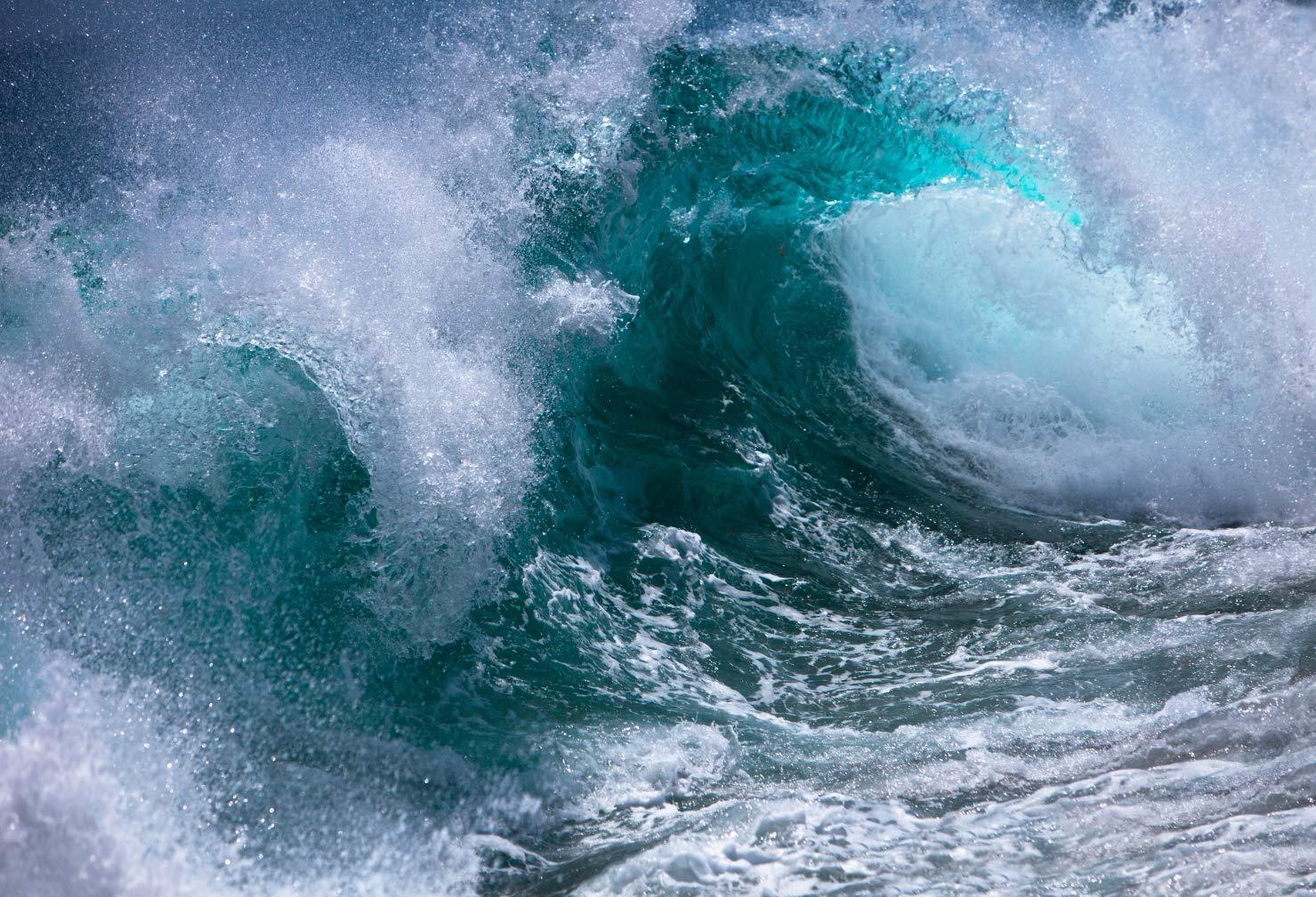 オーシャンウェーブ写真ブース背景 巨大ブルーサーフブレイク写真背景 スタジオ用 7x5フィート   B07N6DWHBL