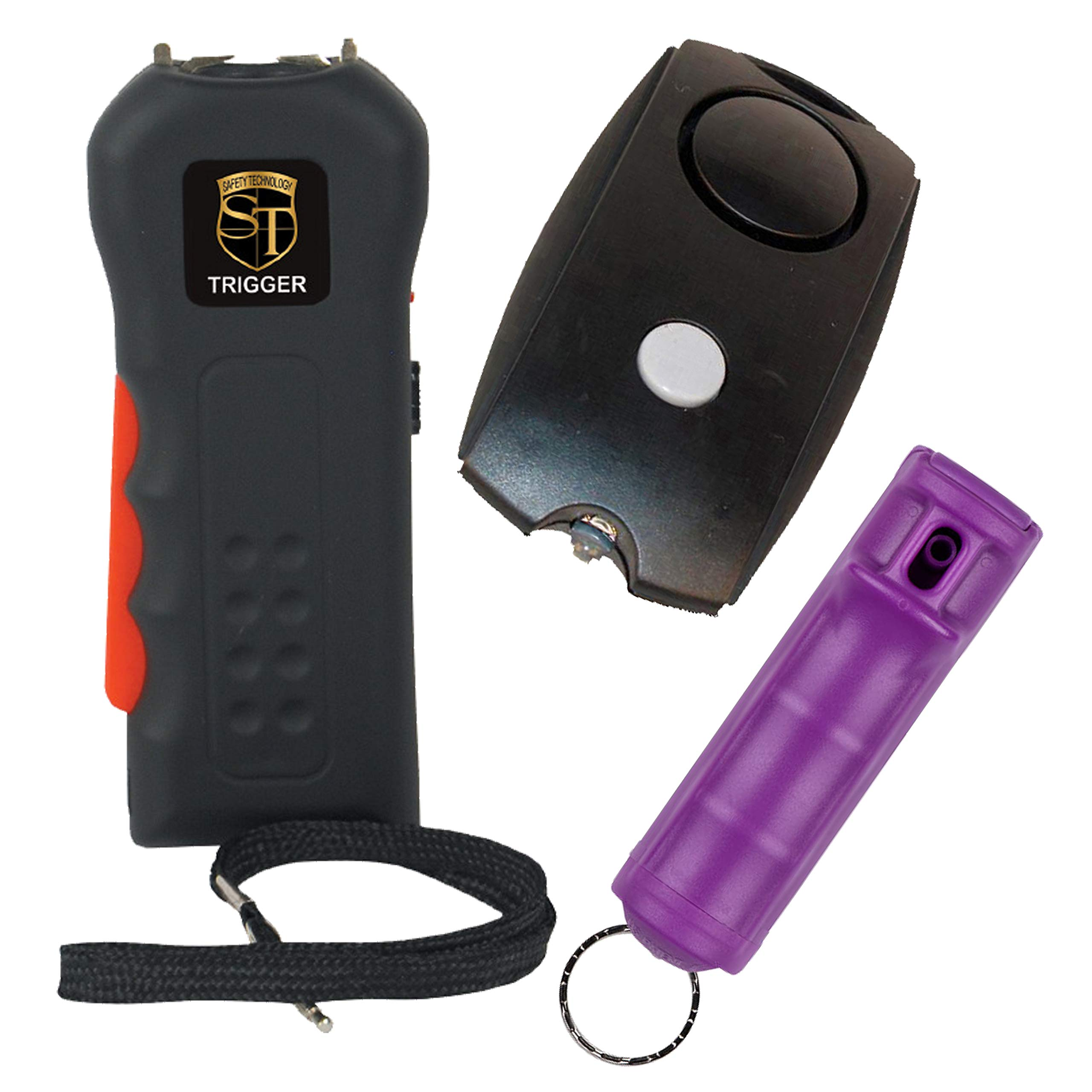 TRIGGER College Safety Bundle: 20 MIL Stun Gun, Sabre Purple Pepper Spray and a Black Personal Alarm - Lot of 3 as Shown