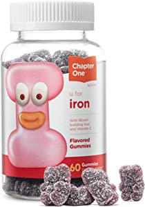 Chapter One Iron Gummies, Great Tasting Iron Gummy Vitamins with Vitamin C for Kids and Adults, Certified Kosher, 60 Flavored Gummies