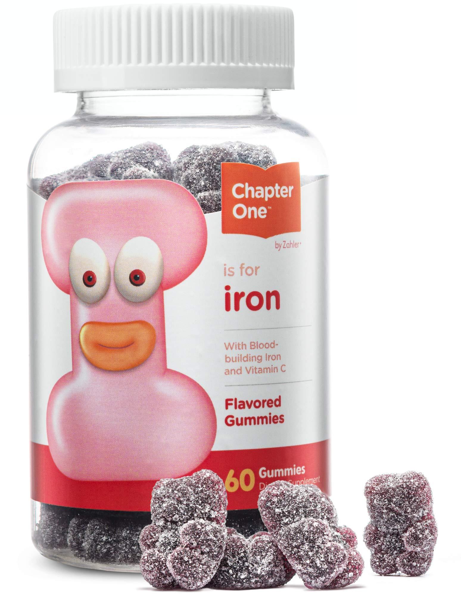 Chapter One Iron Gummies, Great Tasting Iron Gummy Vitamins with Vitamin C, Certified Kosher, 60 Flavored Gummies